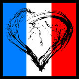 Symbolic  heart in the colors of the French flag Stock Photography