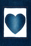 Symbolic heart and frame made of jeans Stock Photo