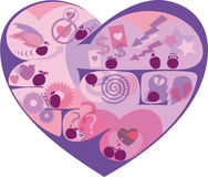 Symbolic heart labyrinth. Decorative heart-shaped labyrinth, contains symbolic scenes with characters-smiles on the challenges of love and relationships Stock Photography