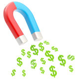 Symbolic horseshoe magnet attracting dollar signs Royalty Free Stock Photos