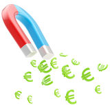Symbolic horseshoe magnet attracting euro signs Stock Photography