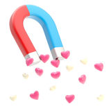 Symbolic horseshoe magnet attracting love hearts Stock Images