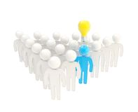 Symbolic human figures crowd with one idea, isolated Stock Photo
