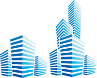 Symbolic illustration with  cityscape. Down town symbol Royalty Free Stock Images