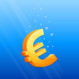 Symbolic illustration of floating Euro currency Royalty Free Stock Image