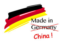 Symbolic illustration for product piracy, made in germany, forged by china. Symbolic illustration for product piracy of made in germany products, forged by china Stock Image