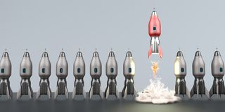 Starting Rocket Unicorn Startup. Symbolic illustration of the unicorn startup. 3d illustration stock illustration