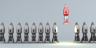 Starting Rocket Unicorn Startup. Symbolic illustration of the unicorn startup stock illustration