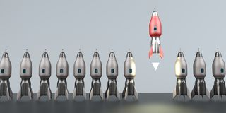 Starting Rocket Unicorn Startup. Symbolic illustration of the unicorn startup royalty free illustration