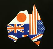 Symbolic image of Australia. Map of Australia made up of flags of the various nations which until recently had most influence over it. No prizes for guessing the Stock Photo