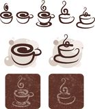 Symbolic image of cups of tea and coffee. For the design vector illustration