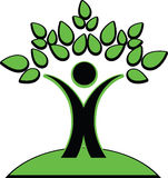 Symbolic image of a man holding green leaves over his head. Vector illustration of the symbolic image of a man holding green leaves over his head looks like Stock Photo