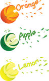 Symbolic images of orange, lemon and apple with juice splashes. Stock Image
