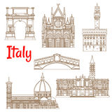 Symbolic Landmarks Of Italy Linear Symbols Stock Image