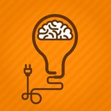 Symbolic light bulb with brain inside Royalty Free Stock Photo