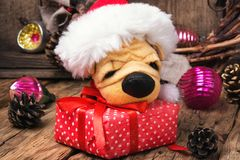 Symbolic little Christmas dog Stock Photos