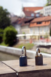 Symbolic locks of broken love  Butcher's Bridge on Ljubljanica R. Symbolic padlock locks of broken love on Butcher's Bridge on Ljubljanica River Ljubljana Stock Images