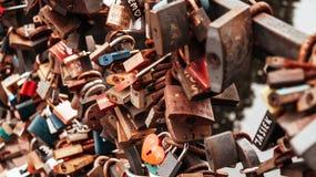 Symbolic love padlocks royalty free stock photos