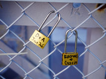 Symbolic love padlocks railings bridge Cincinnati. Symbolic love padlocks fixed to the railings of Purple People Bridge in Cincinnati Royalty Free Stock Photography