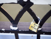 Symbolic love padlocks railings bridge Cincinnati Stock Images