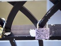 Symbolic love padlocks railings bridge Cincinnati Royalty Free Stock Image