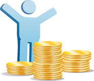 Symbolic man with a gold coins Stock Photography