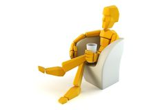 Symbolic man relax in easy chair Royalty Free Stock Images