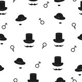 Symbolic man and woman seamless pattern. Black and white vector background with male and female gender symbols Stock Images