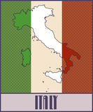 Symbolic map of Italy in colors of the Italian flag. Vector map of Italy in colors of the Italian flag made in retro style with Ben-Day dots. With transparency Royalty Free Stock Image