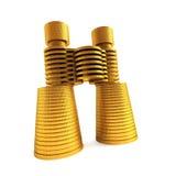 Symbolic money's binoculars. Isolated 3d renderig of the symbolic money's binoculars Royalty Free Stock Image
