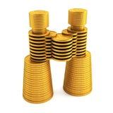 Symbolic money's binoculars. Isolated 3d rendering of the symbolic money's binoculars Royalty Free Stock Image