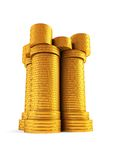 Symbolic money's tower. Isolated 3d renderig of the symbolic money's tower Stock Photos