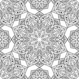 Symbolic pattern of mandala. Seamless pattern of symbolic mandala on a white background. Oriental ornament. Template for carpet, shawl, wallpaper, embroidery Royalty Free Stock Photos