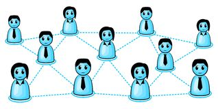 Social network. Symbolic people and how they are connected together stock illustration