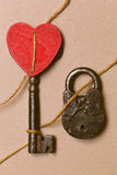 Symbolic photo - key, lock and heart are all connected. Valentine`s day. Symbolic photo - key, lock and heart are all connected royalty free stock photos