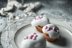Symbolic photo of sweet white, snowy Christmas stock photo