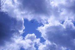 Symbolic picture of glider plane flying into an arrow in the sky Royalty Free Stock Photography