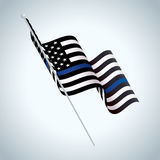 Symbolic Police Support American Flag Illustration. A black and white and blue striped American flag police support symbol waving illustration. Vector EPS 10 royalty free illustration