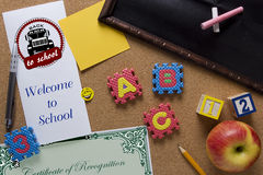 Symbolic poster Welcome back to school Stock Photo