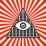 Symbolic Pyramid Graphics with The All-seeing Eye Royalty Free Stock Photos