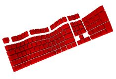 Symbolic Red Computer Keyboard in 3D Royalty Free Stock Photography