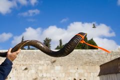 Symbolic Religion. Very symbolic image of the Shofar horn in front of the Wailing Wall in Jerusalem, with a bird flying above Royalty Free Stock Image