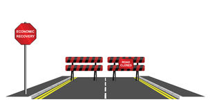 Symbolic road closed. To economic recovery isolated on white background Royalty Free Stock Photo