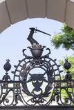 Symbolic scene on a metal fence of Church on Skalka, Krakow, Poland royalty free stock images