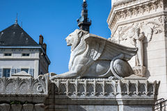 Symbolic sculptures of a Lion infront of Monumental Fourviere Ba Royalty Free Stock Image