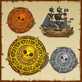 Symbolic set of pirate attributes, seal and ship Royalty Free Stock Photos