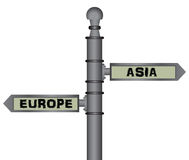 Symbolic signpost Europe - Asia. Geographical, social and political separator. Vector illustration Stock Photography
