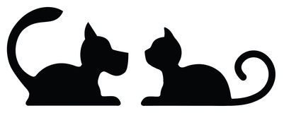 Symbolic Silhouette of a Lying Dog and Cat. On white Stock Photo