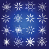 Symbolic snowflakes. Winter abstract icons. Vector set Stock Photo