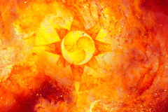 Symbolic solar motive on abstract fire cosmic backgrond. Symbolic solar motive on abstract fire cosmic backgrond Stock Images